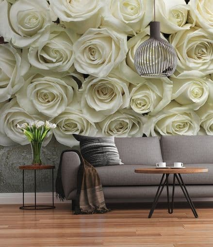 White Roses wall mural for wall