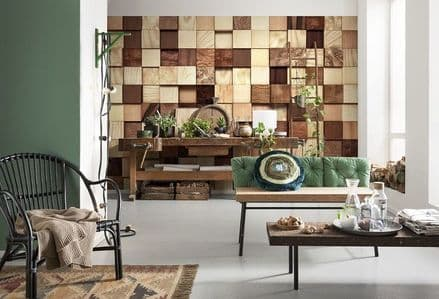 Wooden pieces wall wallpaper