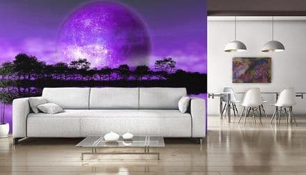 XL Rising moon - alien planet wall mural