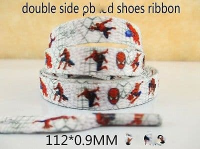 1 PAIR OF SPIDERMAN DOUBLE SIDED PRINTED SHOE LACES LOOK