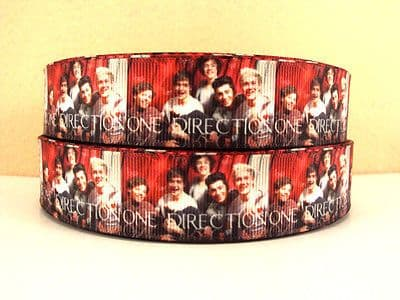 1 METRE 1D GROUP PICTURE RIBBON ONE DIRECTION SIZE 1 INCH BOWS HEADBANDS CAKE #134