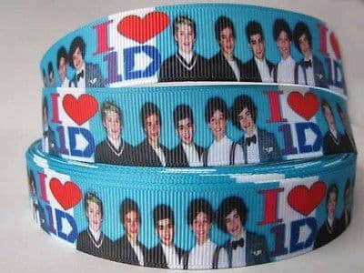 1 METRE 1D NEW BLUE PIC ONE DIRECTION RIBBON SIZE 7/8 BOWS HEADBANDS HAIR CAKE #141