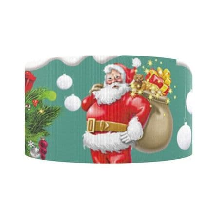 1 METRE BEAUTIFUL SANTA XMAS CHRISTMAS RIBBON SIZE 7/8s HAIR BOWS HEADBANDS