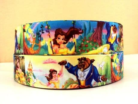 1 METRE BEAUTY AND THE BEAST RIBBON SIZE 1 INCH BOWS HEADBANDS CARD MAKING BIRTHDAY CAKE