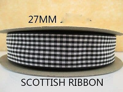 1 METRE BLACK GINGHAM RIBBON SIZE 1 INCH BOWS HEADBANDS BOWS HAIR SCHOOL COLOURS