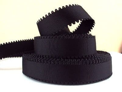 1 METRE BLACK WAVE EDGE GROSGRAIN RIBBON SIZE 7/8 BOWS HEADBANDS HAIR CAKE