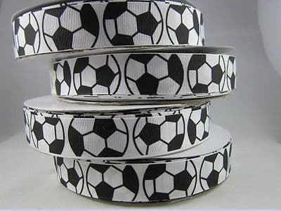 1 METRE BLACK + WHITE FOOTBALL RIBBON SIZE 7/8 BOWS HEADBANDS BABY HAIR CAKE