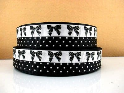 1 METRE BLACK + WHITE POLKA + BOW RIBBON SIZE 1 INCH BOWS HEADBANDS CAKE HAIR #100