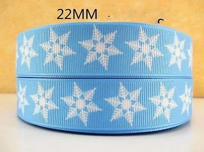 1 METRE BLUE FROZEN SNOWFLAKE RIBBON SIZE 7/8 BOWS HEADBANDS CAKE