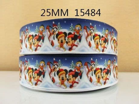 1 METRE BLUE MICKEY + MINNIE CHRISTMAS XMAS RIBBON SIZE 1 INCH BOWS HEADBANDS
