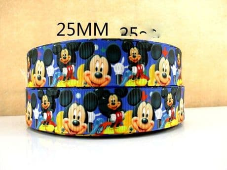 1 METRE BLUE MICKEY MOUSE RIBBON SIZE 1 INCH BOWS HEADBANDS BIRTHDAY CAKE CARD MAKING