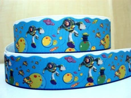 1 METRE BUZZ LIGHTYEAR TOY STORY RIBBON SIZE 1 INCH BOWS HEADBANDS HAIR CLIPS BOWS