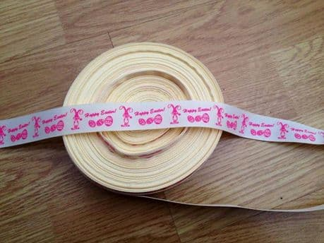 1 METRE CREAM HAPPY EASTER RIBBON SIZE 7/8 BOWS HEADBANDS CARD MAKING