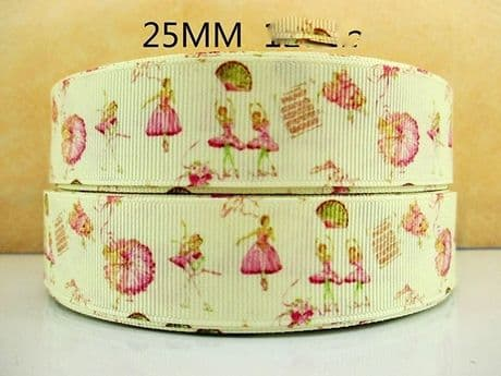 1 METRE CREAM + PINK BALLERINA BALLET RIBBON SIZE INCH BOWS HEADBANDS CAKE CARD MAKING