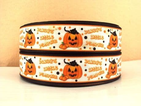 1 METRE DADDYS LITTLE PUMPKIN RIBBON SIZE 1 INCH HALLOWEEN HAIR BOWS HEADBANDS