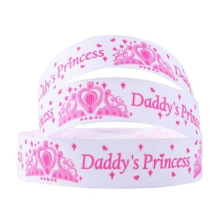 1 METRE DADDYS PRINCESS RIBBON SIZE 7/8 BOWS HEADBANDS BABY HAIR BIRTHDAY CAKE
