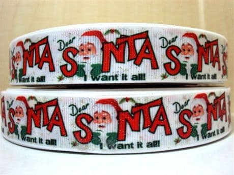 1 METRE DEAR SANTA GLITTER CHRISTMAS XMAS RIBBON SIZE 7/8 BOWS HEADBANDS CARD MAKING