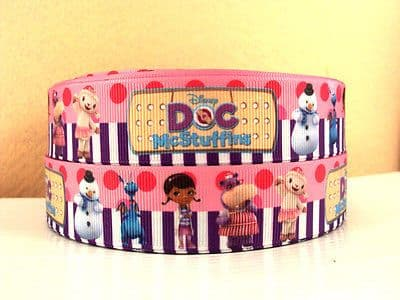 1 METRE DOC MCSTUFFIN + FRIENDS RIBBON SIZE 1 INCH BOWS HEADBANDS HAIR CLIPS #16