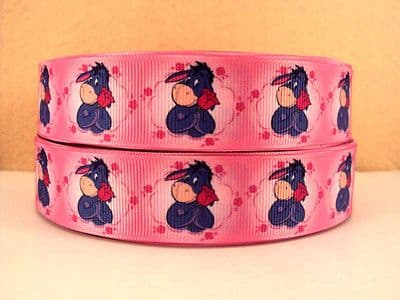 1 METRE EEYORE RIBBON SIZE 1 INCH BOWS HEADBANDS HAIR CLIPS BIRTHDAY CAKE