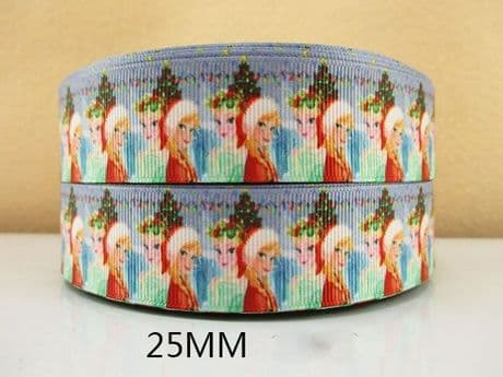 1 METRE ELSA + ANNA XMAS CHRISTMAS FROZEN RIBBON SIZE 1 INCH BOWS HEADBANDS CARD MAKING