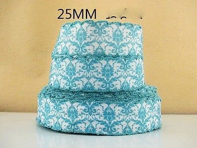 1 METRE FLOWER PRINT WITH BLUE  TRIM RIBBON SIZE 1 INCH BOWS HEADBANDS