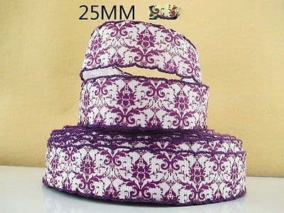 1 METRE FLOWER PRINT WITH PURPLE TRIM RIBBON SIZE 1 INCH BOWS HEADBANDS