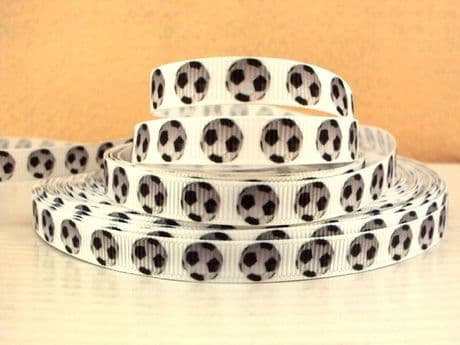 1 METRE FOOTBALL RIBBON SIZE 3/8 HAIR BOWS HEADBANDS BIRTHDAY CAKE CARD MAKING