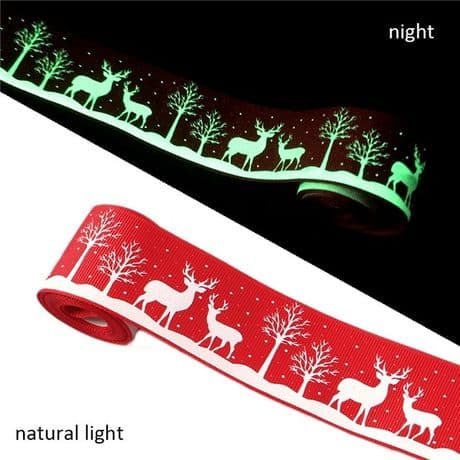 1 METRE GLOW IN THE DARK RED CHRISTMAS REINDEER RIBBON SIZE 1.5 INCH HEADBANDS HAIR BOWS