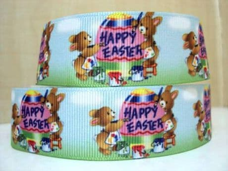 1 METRE HAPPY EASTER EGG RIBBON SIZE 7/8 RIBBON HEADBANDS CARD MAKING