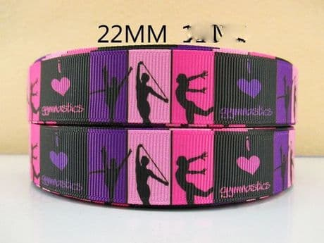 1 METRE I LOVE GYMNASTICS PINK RIBBON SIZE 7/8 BOWS HEADBANDS BABY HAIR CAKE