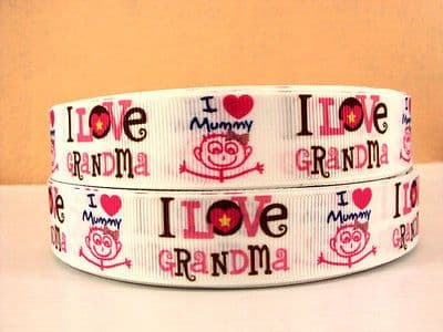 1 METRE I LOVE MUMMY GRANDMA SIZE 7/8 BOWS HEADBANDS BIRTHDAY CAKE HAIR CLIPS
