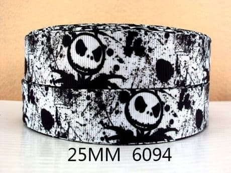 1 METRE JACK SKELLINGTON NIGHTMARE BEFORE CHRISTMAS RIBBON SIZE INCH BOWS HEADBANDS