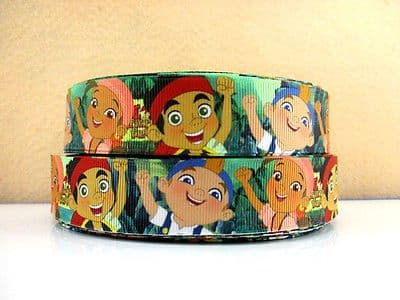 1 METRE JAKE AND THE NEVER LAND PIRATES RIBBON SIZE INCH BOW HEADBANDS HAIR CAKE
