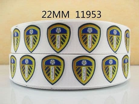 1 METRE LEEDS UNITED RIBBON SIZE 7/8s HEADBANDS HAIR BOWS CARD MAKING