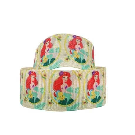 1 METRE LITTLE MERMAID ARIEL RIBBON SIZE 1 INCH BOWS HEADBANDS BIRTHDAY CAKE CARD MAKING
