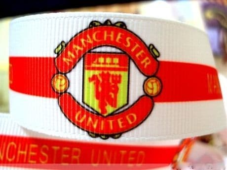 1 METRE MANCHESTER UNITED RIBBON SIZE 1 INCH MAN UTD HEADBANDS BOWS CARD MAKING