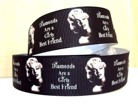 1 METRE MARILYN MONROE RIBBON SIZE 1 INCH BOWS HEADBANDS CARD MAKING HAIR CLIPS