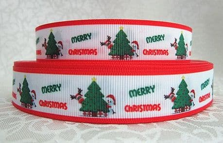 1 METRE MERRY CHRISTMAS XMAS TREE RIBBON SIZE 7/8 BOWS HEADBANDS CARD MAKING