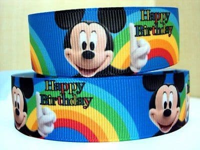 1 METRE MICKEY MOUSE HAPPY BIRTHDAY RIBBON SIZE 7/8 BOWS HEADBANDS HAIR CAKE
