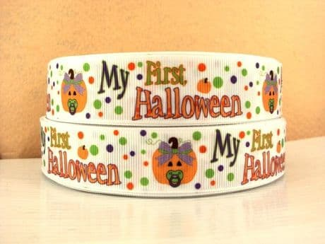 1 METRE MY FIRST  HALLOWEEN RIBBON SIZE 1 INCH PERFECT FOR HAIR BOWS AND OTHER CRAFT PRODUCTS