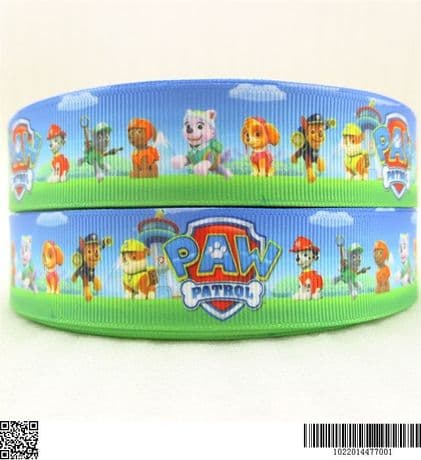 1 METRE NEW BLUE PAW PATROL RIBBON SIZE 1 INCH BOWS HEADBANDS CARD MAKING BIRTHDAY CAKE