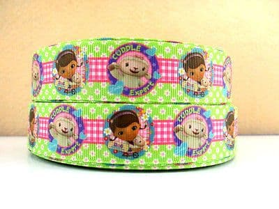 1 METRE NEW DOC MCSTUFFINS CUDDLE  EXPERT RIBBON SIZE 1 INCH BOWS HEADBANDS CAKE #8