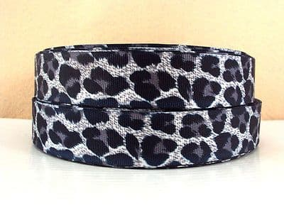 1 METRE NEW GREY LEOPARD PRINT RIBBON SIZE 1 INCH BOWS HEADBANDS HAIR BIRTHDAY CAKE