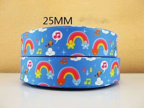 1 METRE NEW MULTICOLOURED RAINBOW RIBBON SIZE INCH BOWS HEADBANDS BIRTHDAY CAKE