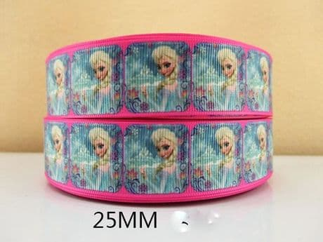 1 METRE NEW PINK + BLUE ELSA FROZEN RIBBON 1 INCH BOWS HEADBANDS BIRTHDAY CAKE #265