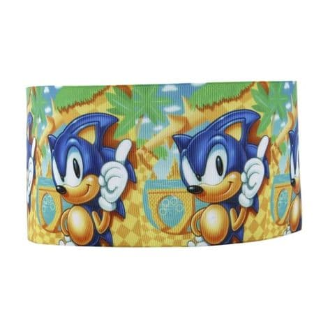 1 METRE NEW SONIC THE HEDGEHOG RIBBON SIZE 1 INCH BOWS HEADBANDS CARD MAKING