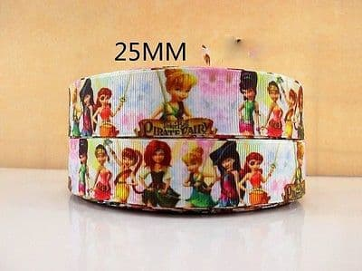 1 METRE NEW TINKERBELL PIRATE FAIRY RIBBON SIZE 1 INCH BOWS HEADBANDS CAKE