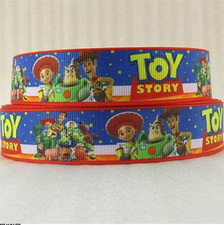 1 METRE NEW TOY STORY RIBBON BUZZ WOODY JESSIE SIZE 1 INCH BOWS HEADBANDS HAIR CLIPS CARD MAKING