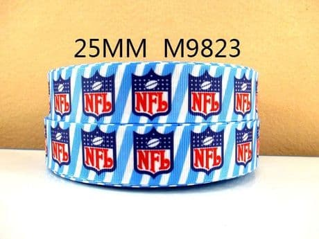 1 METRE NFL AMERICAN FOOTBALL RIBBON SIZE INCH BOWS HEADBANDS BIRTHDAY CAKE CARD MAKING