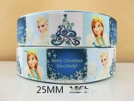 1 METRE OF ANNA + ELSA MERRY CHRISTMAS EVERYBODY RIBBON XMAS SIZE 1 INCH BOWS HEADBANDS